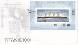 Canada FDC Scott #2535 Souvenir Sheet $1.80 Titanic - 100th Anniversary Of Sinking Of The Titanic - Bateaux