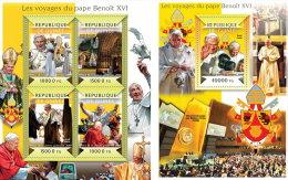 GUINEA REP. 2015 ** M/S + S/S Pope Benedict XVI Papst Benedikt XVI Pape Benoit XVI - Official Issue A1514 - Papas