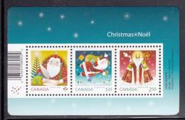 Canada MNH 2014 Souvenir Sheet Of 3 Santa Writing Letter, Delivering Presents, As St. Nicholas - Christmas 2014 - 1952-.... Règne D'Elizabeth II