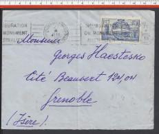FR - 1938 -  SOMME -  N° 400 SUR LETTRE DE VILLERS-BRETONNEUX A DESTINATION DE GRENOBLE - - Marcophilie (Lettres)