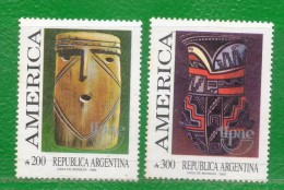 ARGENTINA 1989 SERIES (UPAEP, UPU, American Indians, Indigenous Art, Vessels; Arte Indígena, Vasijas) - American Indians