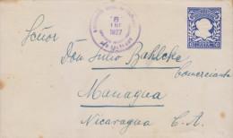G)1927 EL SALVADOR, TULLA SERRA POSTAL SATIONARY 6 CTS., CIRCULATED TO NICARAGUA, XF - El Salvador