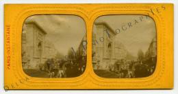 """Vue Stéréoscopique """"Paris-Instantané"""", """"La Porte Saint Denis"""" Jour - Nuit. Tirage Albumine Vers 1865 - Photos"""