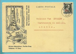 571 Op Kaart Geillustreert Met LE PAVILLON / Publication Musicale, Met Stempel CINEY - 1936-1957 Offener Kragen