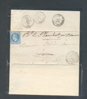 PUY DE DOME EGLISE NEUVE D´ENTRAIGUE GC 4690 Sur N° 29 Tad 22 Du 10 Juin 1868 Réexpédition TB Ind 12 - Postmark Collection (Covers)