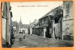 MN1-14  Marcilly-sur-Eure  Rue Principale, ANIME.  Circulé Sous Enveloppe. - Marcilly-sur-Eure