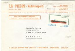 PICCIN FRATELLI, AUTOTRASPORTI, VITTORIO VENETO,TREVISO, BUSTA COMMERCIALE , 1978, - Camion