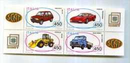 ITALIA - 1986 - SERIE COSTRUZIONI AUTOMOBILISTICHE ITALIANE CPL NUOVA STEMMI AI LATI - Automobilismo