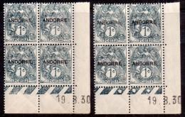 TYPE BLANC - ANDORRE - 1c Ardoise - CD Du 19-8-30 - Planches (A) + (C) - ** - 1900-29 Blanc