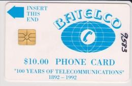 Bahamas - BHS-C-01, Batelco Logo. 100 Years Of Telecommunications, 12/92