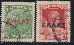 Crete, Scott # 113-4 Used Coin, Hermes, Overprinted, 1909-10 - Crete
