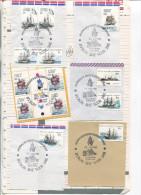 (special 7) Australia Postmark On Envelope Fragment (sheet Number 48) AAT Ships Stamps - 1982 X 6 Postmarks Assorte6 - Australian Antarctic Territory (AAT)