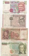 61-Blocco 4 Banconote L1.000+L.1000+L.5000+L.5000 Diverse E Circolate - [ 2] 1946-… : Républic