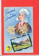 Souvenir Du Dauphiné Cpa Fleur Sechée + Petite Photo + Blason  Edit André - Postcards
