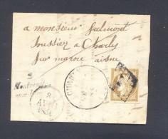 AISNE Cursive 2 Monteuil Aux Lions Tad Type 13 De CHARLY Dateur A Du 8 Avril 1851 Et 10 C CERES N° 1 Obl Grille TTB - 1849-1850 Ceres