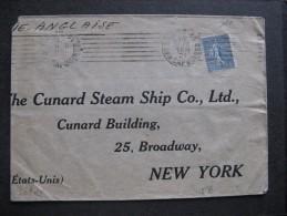 Se L 10 -TB Enveloppe Affranchie Avec N° 161;  De Paris Pour U.S.A.  ( 10/ 12 / 1921 ). - Postmark Collection (Covers)