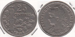 Francia 25 Centimes 1904 KM#856 - Used - Francia