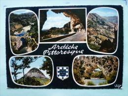 V08-07-ardeche-pittoresque-blason- 5 Vues--thueyis-pont Diable-tunnel--col Chavade-pont D'arc--1966 - Privas