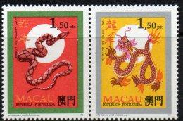 ZD Schlange/Drache Tierzeichen CHINA 1995 Macao 841+2 Paar ** 3€ Neujahr 1988 Dragon New Year 1989 Snake Se-tenant Macau - Macao