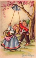 00 - DESSIN - PA - Buano Pasqua - DESSIN - Enfants Sonnant Les Cloches Sous Un Arbre En Fleurs - 1955 - Pâques