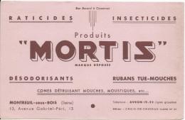 Buvard/ INsecticides/Produits MORTIS/Désodorisants/Rubans Tue-Mouches/ MONTREIL Sous BOIS/Seiine/Vers 1950        BUV200 - Carte Assorbenti
