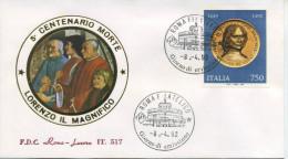 ITALIA - FDC  ROMA LUXOR 1992 -  LORENZO IL MAGNIFICO - ARTE - F.D.C.