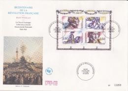 FDC Grand Format  Bicentenaire De La Révolution Française Bloc Feuillet - 1990-1999