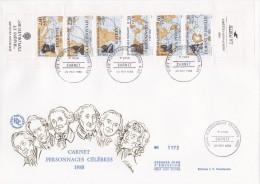 FDC Grand Format  Carnet Personnages Célèbres  1988 Marins Et Explorateurs - 1980-1989
