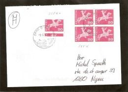 20cs Bloc De 4 + Timbre Mal Coupé Sur Lettre - Automatic Stamps