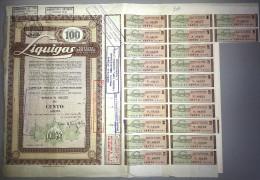 LIQUIGAS - SOCIETA´ PER AZIONI  /   TITOLO  AZIONARIO DA 100  AZIONI  _  1960 - Electricité & Gaz