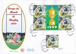 FDC Grand Format  Bloc Coupe Du Monde De  Rugby 1999 - 1990-1999