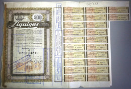 LIQUIGAS - SOCIETA´ PER AZIONI  /   TITOLO  AZIONARIO DA 500  AZIONI  _  1961 - Electricité & Gaz