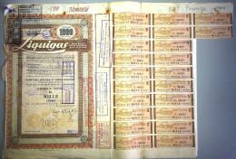 LIQUIGAS - SOCIETA´ PER AZIONI  /   TITOLO  AZIONARIO DA 1000  AZIONI  _  1960 - Electricité & Gaz
