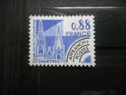France Préoblitéré N°163 TOURS De La CATHEDRALE De CHARTRES Sans Gomme - Eglises Et Cathédrales