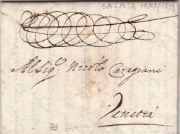 Prefilatelica Dal Levante. Galata Per Venezia , Lettera Manoscrita In Eccellente  Conserv. Anno 1713 Bel Sigillo Al Retr - Turkey