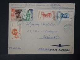 FRANCE-MADAGASCAR LETTRE D UN GENDARME A ANDRIBA POUR PARIS EN 1950 AFFRANCHISSEMENT PLAISANT   A VOIR    LOT P3023 - Brieven En Documenten