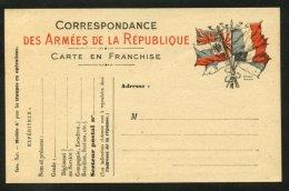 """Carte De Franchise Militaire Neuve Modèle De L'imprimerie Nationale  à 7 Drapeaux """"Sans Couleur Jaune"""" - Marcophilie (Lettres)"""