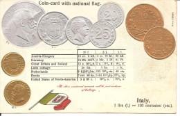A504 REGNO D'ITALIA MONETE IN RILIEVO (VIAGGIATA) - Monnaies (représentations)