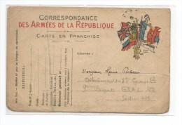 CARTE EN FRANCHISE MILITAIRE ... CORRESPONDANCE DES ARMEES DE LA REPUBLIQUE - Oorlog 1914-18