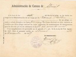 12289. Resguardo Certificado LLINAS Del VALLES (Barcelona) 1909. Fechador Violeta - Briefe U. Dokumente