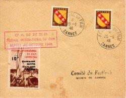 FRANCE. Superbe Enveloppe Commémorative De 1946. Festival Du Film De Cannes 1946. - Cinema