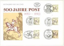 EMISSIONE CONGIUNTA AUSTRIA  E GERMANIE 500 ANNIVERSARIO DEL SERVIZIO POSTALE  - FDC 1990 - Erinnofilia
