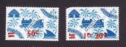 Somali Coast, Scott #240, 243, Mint Hinged, Locomotive And Palms Surcharged, Issued 1945 - French Somali Coast (1894-1967)