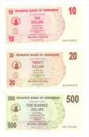 Zimbabwe 10 + 20 + 500 Dollars - Zimbabwe