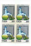 Italia 1981 ANNO INTERNAZIONALE DELLE PERSONE HANDICAPPATE Quartina Nuova - 6. 1946-.. Repubblica