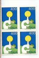 X 1983 Italia  Ricerca Contro Il Cancro N.1619 Quartina Nuova Tematica Medicina Salute Angolo Di Foglio - Malattie