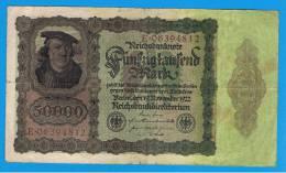ALEMANIA - GERMANY -  50.000 Mark 1922  MBC-  P-80 - [ 3] 1918-1933 : República De Weimar