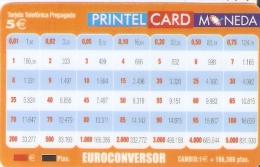 TARJETA DE ESPAÑA DE PRINTELCARD EUROCONVERSOR 5 EUROS (FEBRERO 2002) TIRADA 40000  (NUEVA-MINT) - España