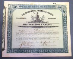 "*SG62 CUBA BONO \""CIENFUEGOS, PALMIRA & CRUCES\"" 1918 1000$ RAILROAD RAILWAYS BON - Shareholdings"