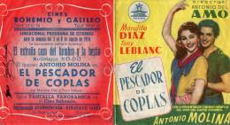 """2 Publicités 1954 Pour Films En Espagne """"los Ojos Dejan Huellas"""" Y """"el Pescador De Coplas (GL06a) - Cinema Advertisement"""